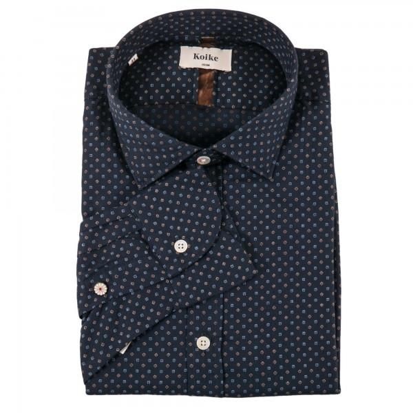 Koike shirt dark blue patterned