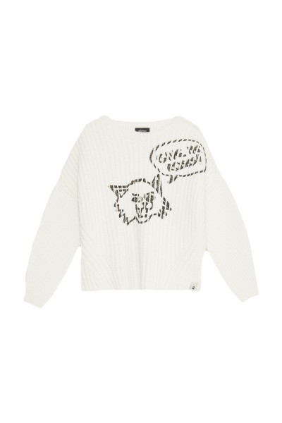 Ottod'Ame Knitted Sweater Cat Print