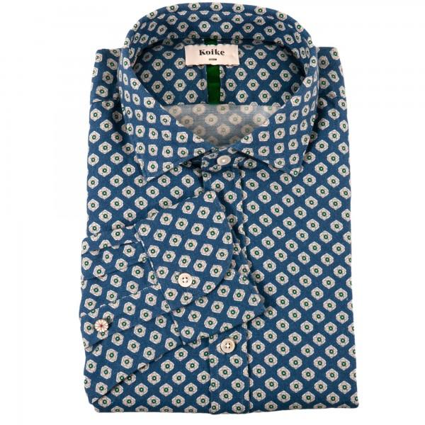 Koike Flanell Hemd Blau Gemustert