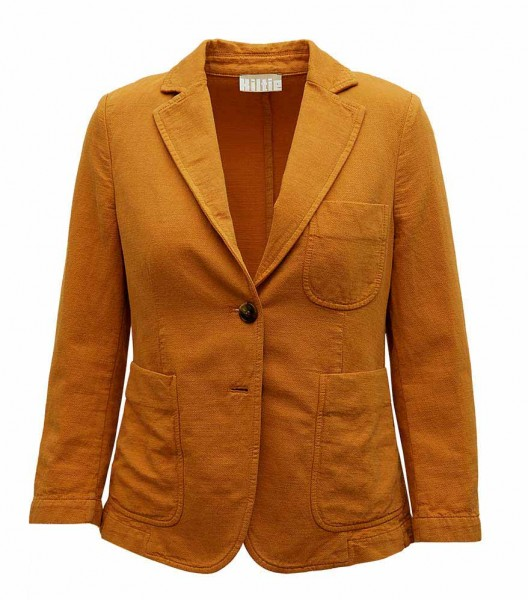 Kiltie cotton-linen blazer curry
