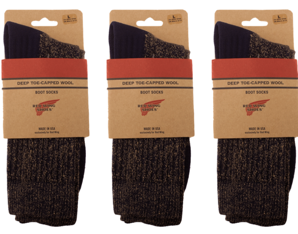 Red Wing Deep Toe Capped Woll-Socken 3er Pack Schwarz