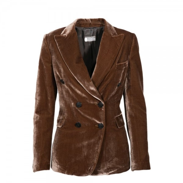 Kiltie Velvet Blazer light brown
